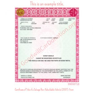 SC Certificate of Title of a Salvage Non-Rebuildable Vehicle (2007)- Front