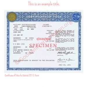 SC Certificate of Title of a Vehicle (CT-1)- Front