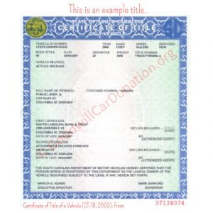 SC Certificate of Title of a Vehicle (CT-1B, 2003)- Front