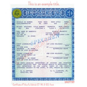 SC Certificate of Title of a Vehicle (CT-1M, 8-93)- Front