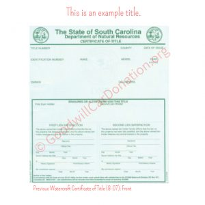 SC Previous Watercraft Certificate of Title (8-07)- Front