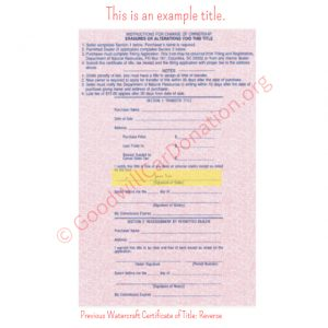 SC Previous Watercraft Certificate of Title- Reverse
