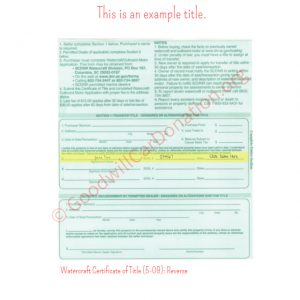 SC Watercraft Certificate of Title (5-09)- Reverse