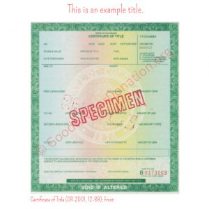 CO Certificate of Title (DR-2001, 12-89)- Front