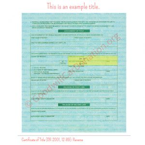 CO Certificate of Title (DR-2001, 12-89)- Reverse