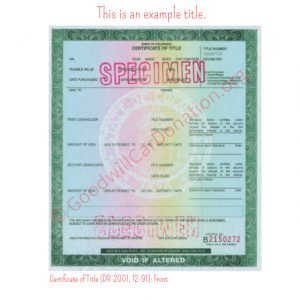 CO Certificate of Title (DR-2001, 12-91)- Front