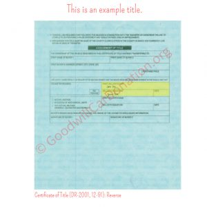 CO Certificate of Title (DR-2001, 12-91)- Reverse