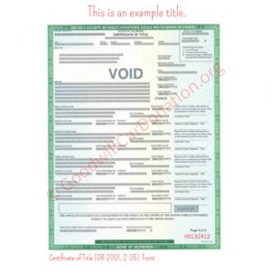 CO Certificate of Title (DR-2001, 2-05)- Front