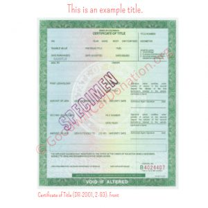 CO Certificate of Title (DR-2001, 2-93)- Front