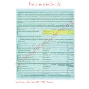 CO Certificate of Title (DR-2001, 2-93)- Reverse