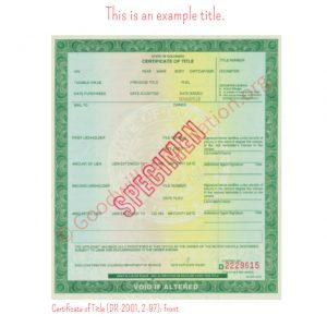 CO Certificate of Title (DR-2001, 2-97)- Front