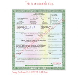 CO Salvage Certificate of Title (DR 2001, 8-98)- Front