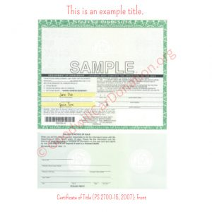 MN Certificate of Title (PS 2700-15, 2007)- Front