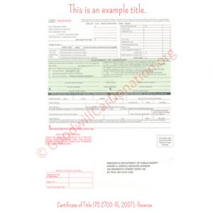 MN Certificate of Title (PS 2700-15, 2007)- Reverse