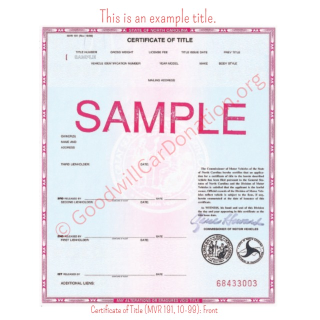 sample certificate of title
