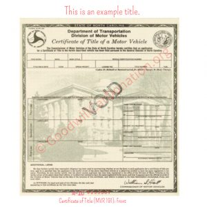 NC Certificate of Title (MVR 191)- Front