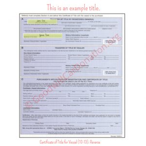 NC Certificate of Title for Vessel (10-13)- Reverse