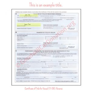 NC Certificate of Title for Vessel (11-08)- Reverse