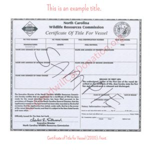 NC Certificate of Title for Vessel (2000)- Front