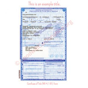 PA Certificate of Title (MV-4, 1-91)- Front