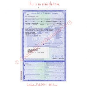 PA Certificate of Title (MV-4, 1-98)- Front