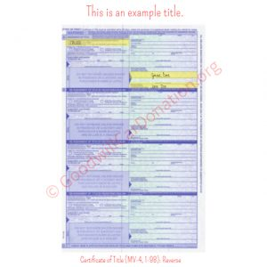 PA Certificate of Title (MV-4, 1-98)- Reverse