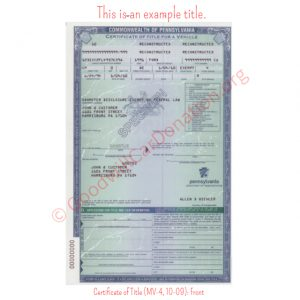 PA Certificate of Title (MV-4, 10-09)- Front