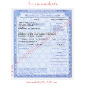 PA Certificate of Title (MV-4, 11-86)- Front
