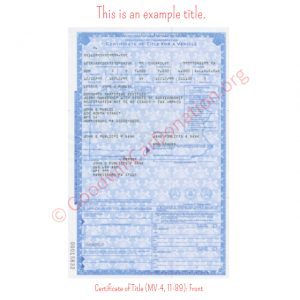 PA Certificate of Title (MV-4, 11-89)- Front