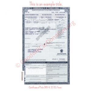 PA Certificate of Title (MV-4, 12-15)- Front