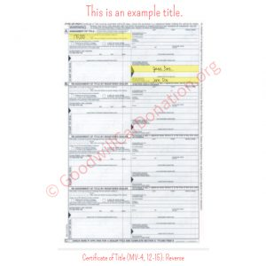 PA Certificate of Title (MV-4, 12-15)- Reverse