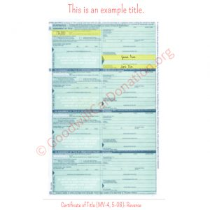 PA Certificate of Title (MV-4, 5-08)- Reverse