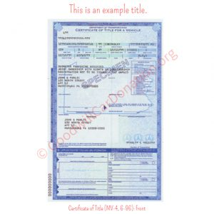 PA Certificate of Title (MV-4, 6-96)- Front