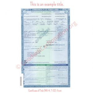 PA Certificate of Title (MV-4, 7-02)- Front