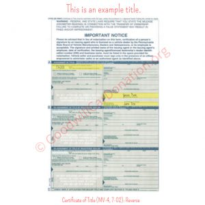 PA Certificate of Title (MV-4, 7-02)- Reverse