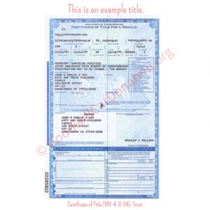PA Certificate of Title (MV-4, 8-94)- Front