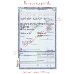 PA Certificate of Title (MV-4, 9-01)- Front