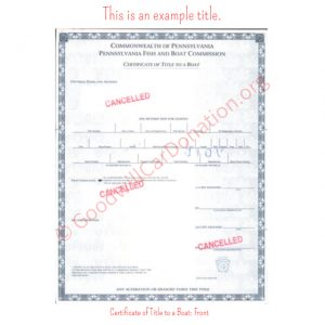 PA Certificate of Title to a Boat- Front