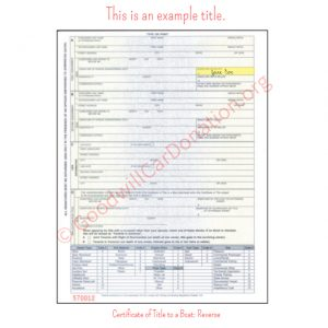 PA Certificate of Title to a Boat- Reverse
