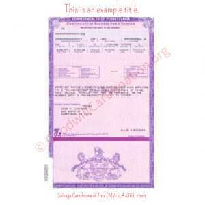 PA Salvage Certificate of Title (MV-5, 4-06)- Front