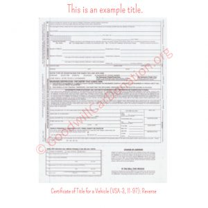 VA Certificate of Title for a Vehicle (VSA-3, 11-97)- Reverse