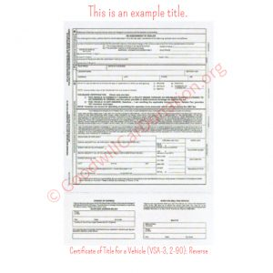 VA Certificate of Title for a Vehicle (VSA-3, 2-90)- Reverse