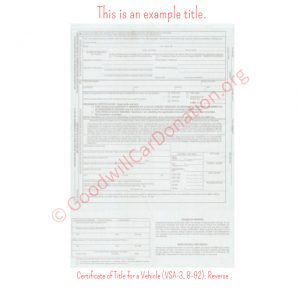 VA Certificate of Title for a Vehicle (VSA-3, 8-92)- Reverse