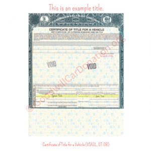 VA Certificate of Title for a Vehicle (VSA3L, 07-08)- Front