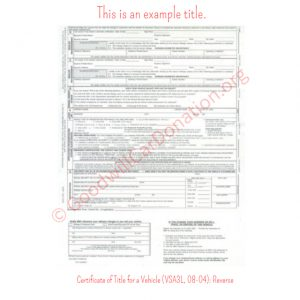 VA Certificate of Title for a Vehicle (VSA3L, 08-04)- Reverse