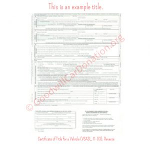 VA Certificate of Title for a Vehicle (VSA3L, 11-03)- Reverse