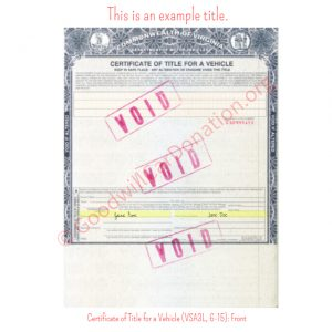 VA Certificate of Title for a Vehicle (VSA3L, 6-15)- Front