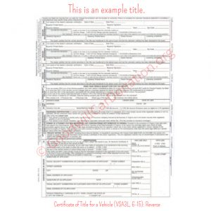 VA Certificate of Title for a Vehicle (VSA3L, 6-15)- Reverse