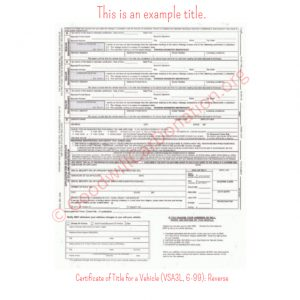 VA Certificate of Title for a Vehicle (VSA3L, 6-99)- Reverse