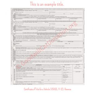 VA Certificate of Title for a Vehicle (VSA3S, 11-12)- Reverse